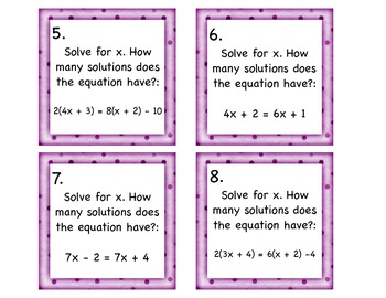 How Many Solutions Task Cards Infinite? None? One? 8.EE.7