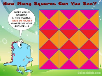 'Problem Solving' - How Many Squares Are Here? Excellent Puzzle for Math Walls