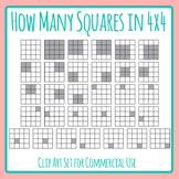 How Many Squares Can You Find in a 4x4 Grid Math Clip Art with Answers