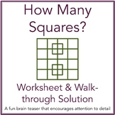 How Many Squares Math Brain Teaser Worksheet and Solution with Powerpoint