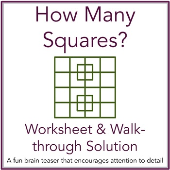how many squares math brain teaser worksheet and solution with  how many squares math brain teaser worksheet and solution with powerpoint