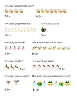 How Many Subtraction Gingerbread Man House Math Christmas Santa Angel Printable
