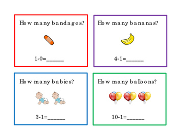 How Many Subtraction Math Task Cards  Numbers up to 12 Literacy Reading 3pages