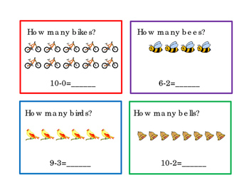 How Many Subtraction Math Task Cards  Numbers up to 12 Lit
