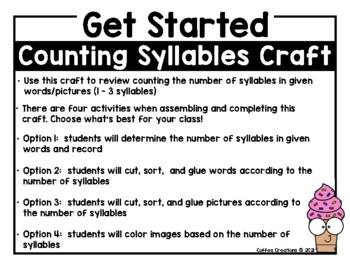 Counting Syllables Craft (4 different activities for 1 - 3 syllable words)