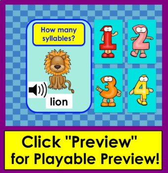 Boom Cards™ Syllables - No Prep!  Interactive Self-Chkg Task Cards with sound!