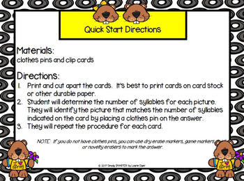 How Many Syllables?:  LOW PREP Groundhog Day Themed Clip Cards