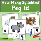 Syllables Counting Activities: How Many Syllables? Peg It! (SASSOON Font)
