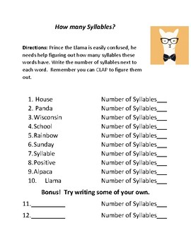 How Many Syllables Practice (4 total quizzes at different levels!)