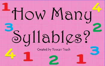 How Many Syllables SMARTBoard Activities