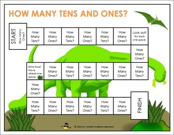 How Many Tens and Ones Dinosaur Place Value Board Game