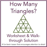 How Many Triangles Math Brain Teaser Worksheet and Solution with Powerpoint