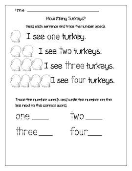 How Many Turkeys, Number Words for Kindergarten