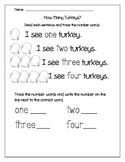 How Many Turkeys, Number Words for Kindergarten