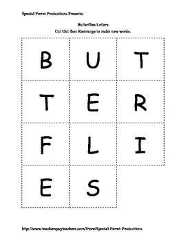 Butterflies FREE - How Many Words Can You Make?