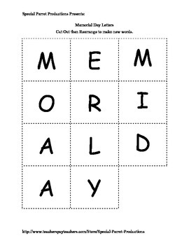 Memorial Day FREE - How Many Words Can You Make?