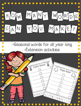 How Many Words Can You Make?  Seasonal/Holiday Word Work