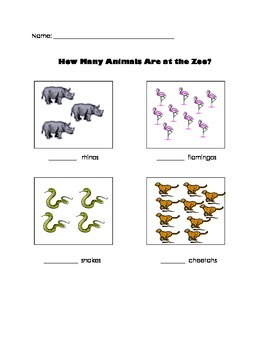 Counting Worksheet- How Many Zoo Animals