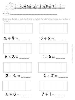 How Many in the Pen? Addition Freebie