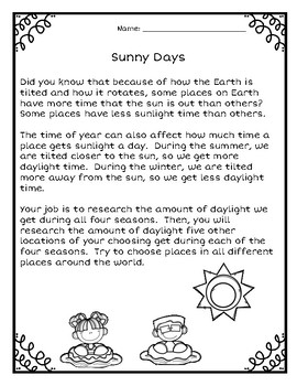 How Much Daylight Do We Get?-An Elapsed Time Math Extension Activity