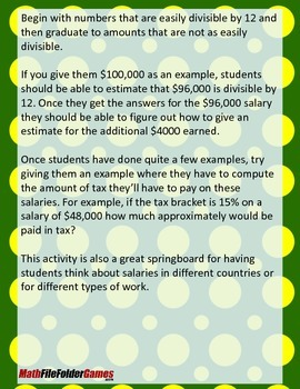 How Much Do You Make? How Much Do You Get to Keep? {Mental Math Activity}