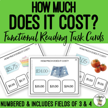 How Much Does It Cost? Differentiated Task Cards Shopping Life Skills