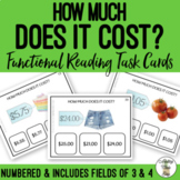 How Much Does It Cost? Field of 3 & 4 Task Cards