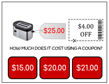 How Much Does It Cost Using Coupons? Department Store Task Cards