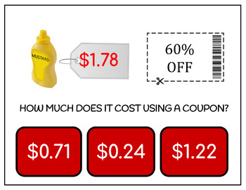 How Much Does It Cost Using Coupons? Grocery Store Task Cards