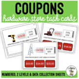 How Much Does It Cost Using Coupons? Hardware Store Differentiated Task Cards