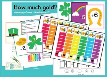 How Much Gold? Math Center - Addition Subtraction - St Patricks