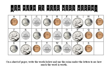 How Much Is Your Word Worth Money Activity
