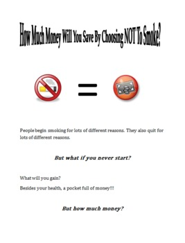 How Much Money Will You Save By NOT Smoking? Decimals Math Activity