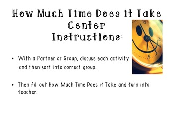 How Much Time Does it Take? Math Sort Activity