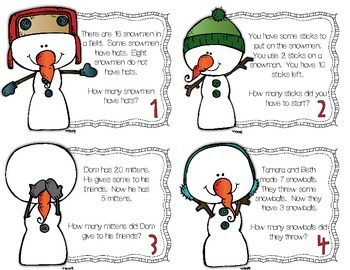 How Much is Some? Subtraction word problems with missing parts ~ Snowman Edition