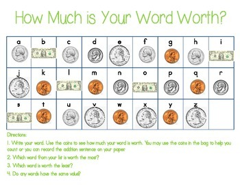 How Much is Your Word Worth? Daily Five Activity