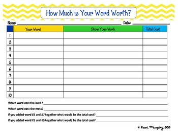 How Much is Your Word Worth? Pennies, Nickels, Dimes, and Quarters