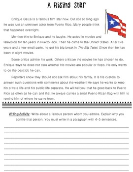 How My Family Lives in America Close Reading Activity