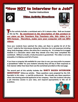 """JOB INTERVIEW """"How NOT to Interview for a Job!""""  -- Video Activity"""