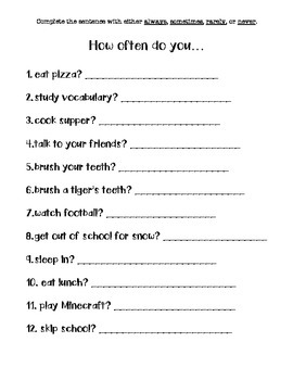 How Often Adverb Worksheet