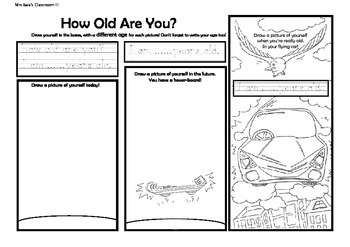 How Old Are You? ESL Draw, color and write worksheet