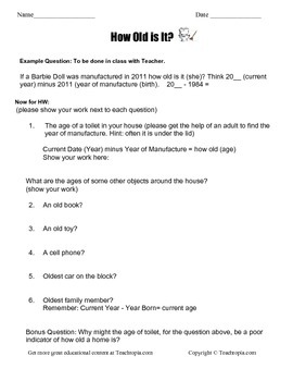 How Old is it? Subtraction Word Problems Homework  Regrouping Borrowing