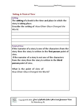 How Oliver Olsen Changed the World Unit With Literary and Grammar Activities