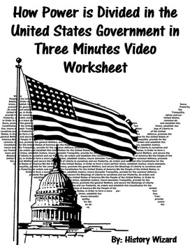 How Power is Divided in the US Government in Three Minutes Video Worksheet