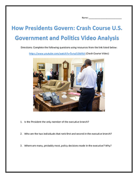 How Presidents Govern: Crash Course U.S. Government and Politics Video Analysis
