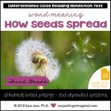 Seed Dispersal Reading Comprehension Passage Close Reading & Google Slides