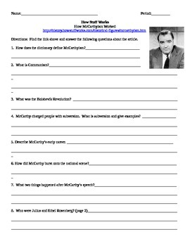 How McCarthyism Worked- Internet Assignment U.S. History