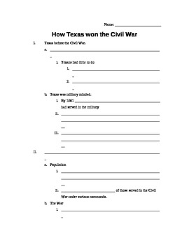 How Texas Won the Civil War Student Notes Handout (Texas History)