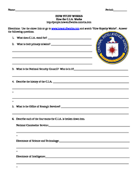 How The C.I.A. Works- Internet Assignment for Street Law