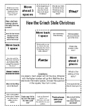 How The Grinch Stole Christmas Comprehension Game Board